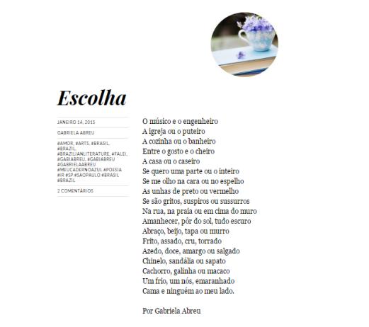 Poesia publicada no Blog Meu Caderno Azul