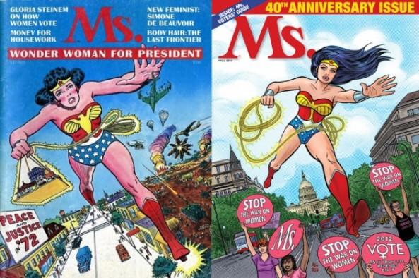 Capa da Ms. em 1972 e 2012